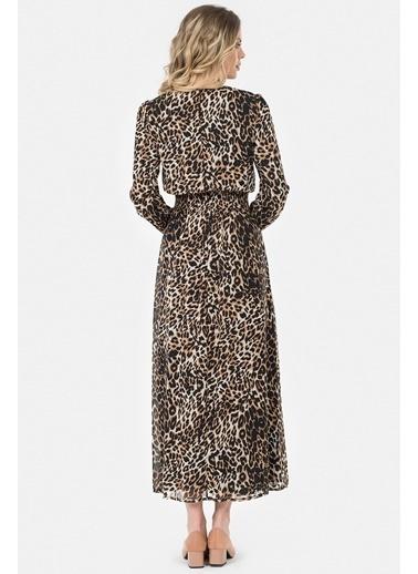 Leopar Desenli Uzun Elbise-İroni
